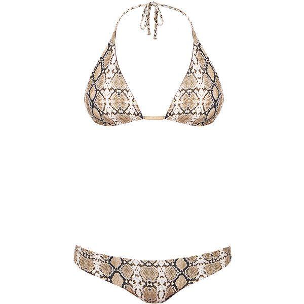 Melissa Odabash Capri Snake Print Bikini Set ($100) ❤ liked on Polyvore featuring swimwear, bikinis, animal print, halter top, halter bikini top, halter tankini top, halter bikini and bikini bottom