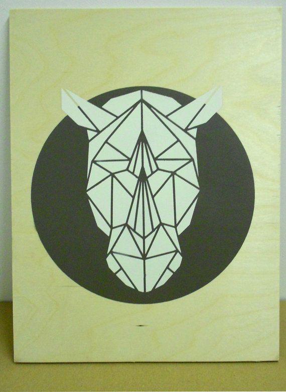 Stencil Art, Rhino Head on Plywood, Origami Rhino Original Art on Etsy, $61.21