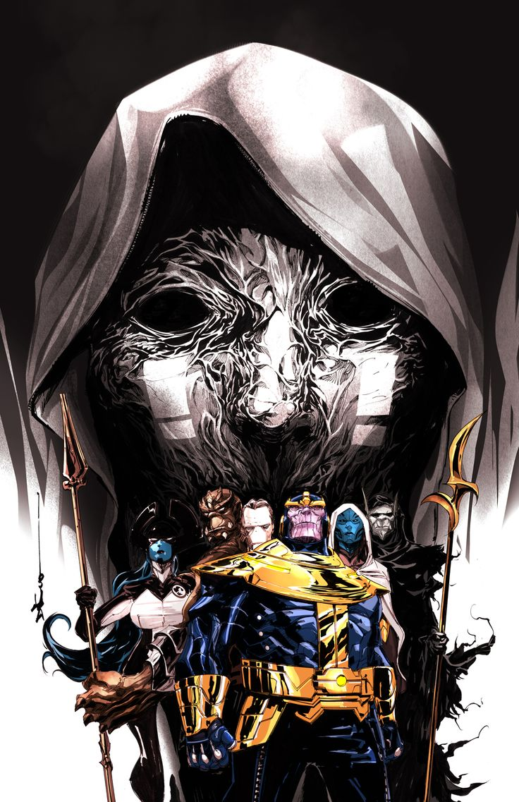 Dustin Nguyen- latest covers for a Marvel Mini series featuring Thanos, his son Thane, and the Black Order. Some details about the series can be found here- http://comicbook.com/blog/2014/08/20/exclusive-thanos-a-god-up-there-listening-covers-by-dustin-nguye/