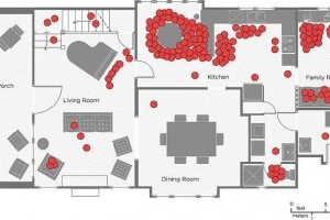 "It's fascinating how much we use each section of our living spaces. ""The UCLA group responsible for the book followed 32 middle class Los Angeles families around their homes, tracking their every move to see how people actually live nowadays. This image shows ""the location of each parent and child on the first floor of the house of 'Family 11′ every 10 minutes over two weekday afternoons and evenings."" In other words, primetime for their waking hours at home."""
