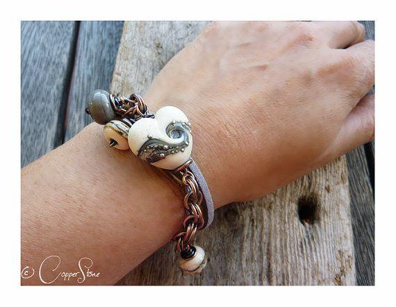 Smoked Heart Trinity Wrap Bracelet 17€ #jewellery #jewelry #lampwork #wirework #handmade