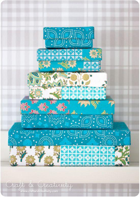 Caixas de turquesa - por Craft & Criatividade