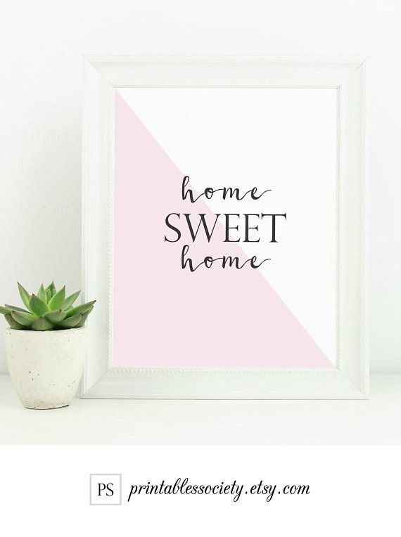 Home Sweet Home Sign Blush Pink Wall Art Home Decor Typography