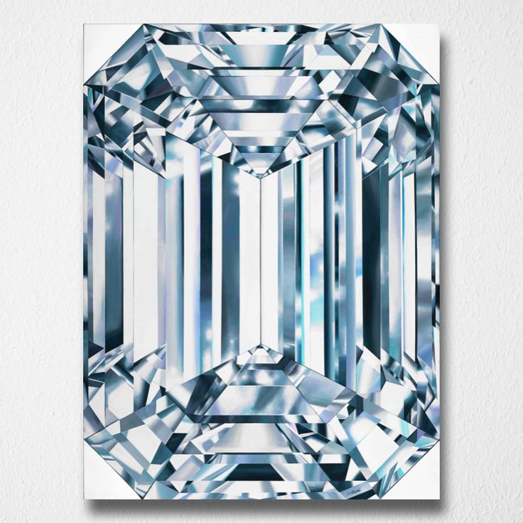 Shining Spirit (Canvas print) by Reena Ahluwalia. Fancy Vivid Yellow Emerald Cut Diamond. Starts from 345.00. #FancyColorDiamonds #DiamondPaintings #DiamondArt #ReenaAhluwalia #EmeraldCut #Diamond