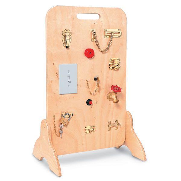 The Locks & Latches Activity Board makes a great Fine Motor activity center for any preschool. This educational toy features a variety of every day activities that kids need to master.These activities