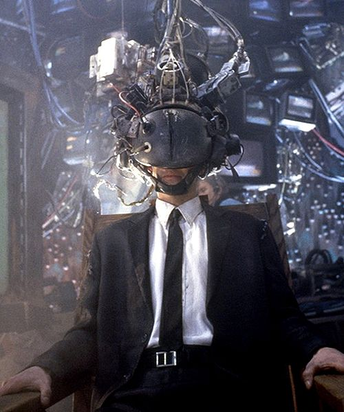 Johnny Mnemonic (1995) - Johnny's head is encased to interface with a dolphin.