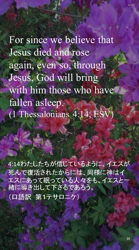 For since we believe that Jesus died and roseagain, even so, through Jesus, God will bringwith him those who have fallen asleep.(1 Thessalonians 4:14, ESV)