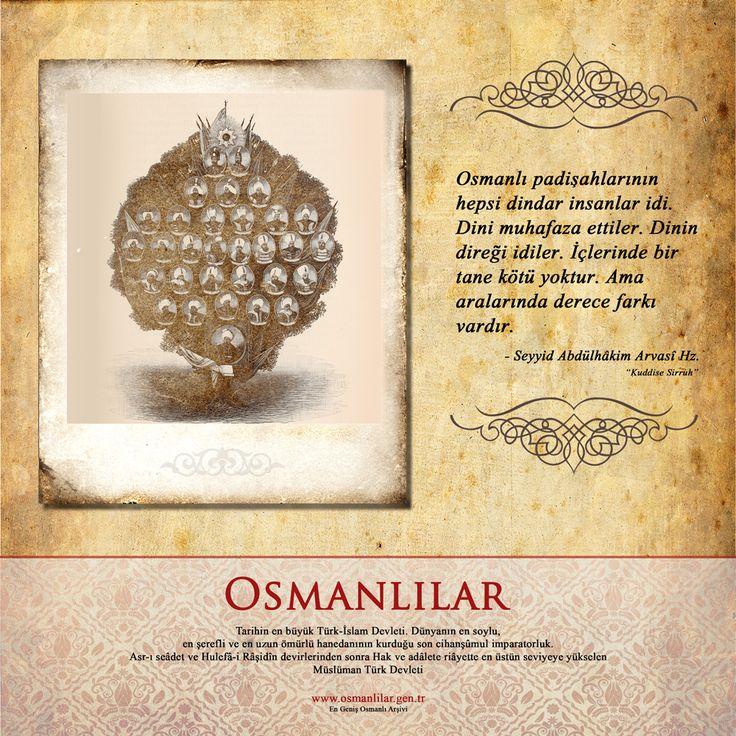 """Osmanlı padişahlarının hepsi dindar insanlar idi. Dini muhafaza ettiler. Dinin direği idiler. İçlerinde bir tane kötü yoktur. Ama aralarında derece farkı vardır. - Seyyid Abdülhâkim Arvasî Hz. """"Kuddise Sirruh"""""""