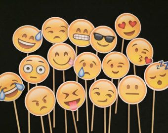 16 Emoji Face Photo Booth Props by WonderfullyMadeBows on Etsy