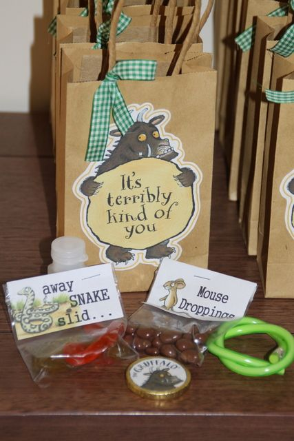 Favors at a Gruffalo Party #gruffalo #partyfavors