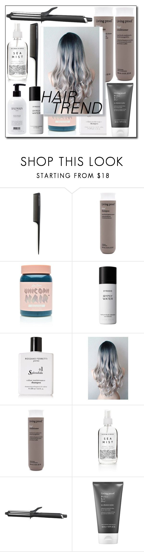 """Hair trend"" by marielindhardtsen ❤ liked on Polyvore featuring beauty, GHD, Living Proof, Lime Crime, Liberty, Rossano Ferretti, Herbivore and Balmain"
