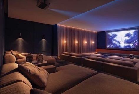 Home Theater Room Design, Home Cinema Room, Home Theater Rooms, Home Theater Seating, Home Room Design, Dream Home Design, Home Interior Design, House Design, Home Theater Basement