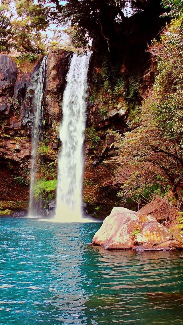 Jeongbang Waterfall, Jeju Island, Korea, Asia