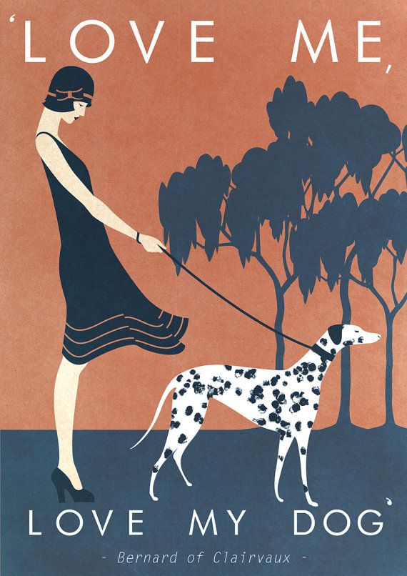 A3 Vintage style art print - designed by Kate Sampson  Dog themed featuring quote: 'Love me, love my dog'.