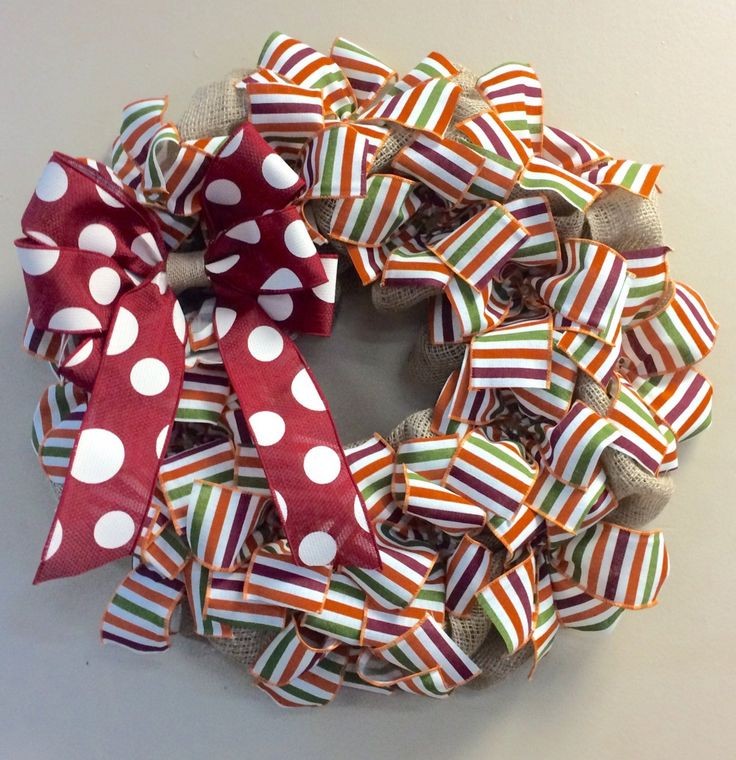 Wreath it! Fun Striped Wreath Decor for Door or Wall Maroon Orange Moss Green - Made with our patent pending Wreath it base