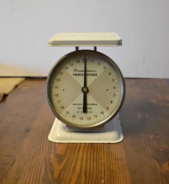 Vintage Kitchen Scale American Family White by EllaMurphyDesigns