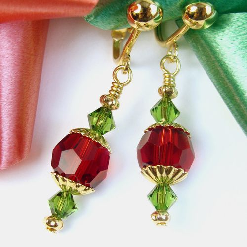 #Christmas Clip On #Earrings, Red and Green Crystal, Non Pierced Dangles by @Pretty Gonzo on #ArtFire