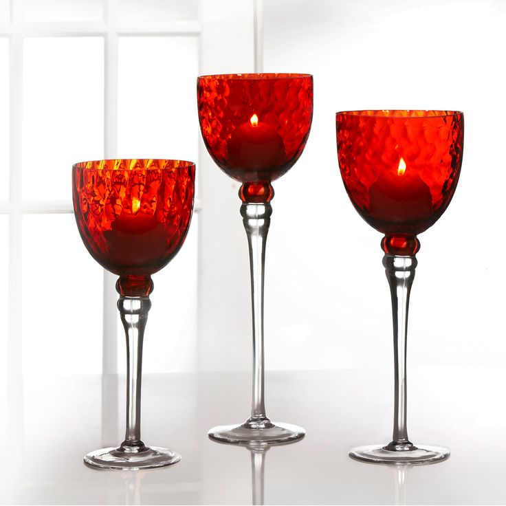 Fifth Avenue Crystal Monaco Red Candle Holders (Set of 3) | Overstock.com