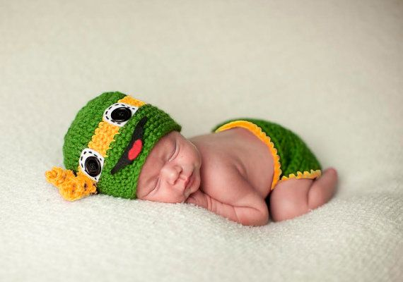 Ninja Turtle Hat and Diaper Cover Photo Prop by MadhatterknitsCo
