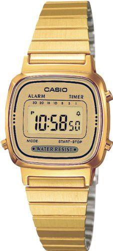 Casio - LA670WEGA-9EF - Vintage - Montre Femme - Quartz Digital - Cadran Doré - Bracelet Acier Doré: Amazon.fr: Montres