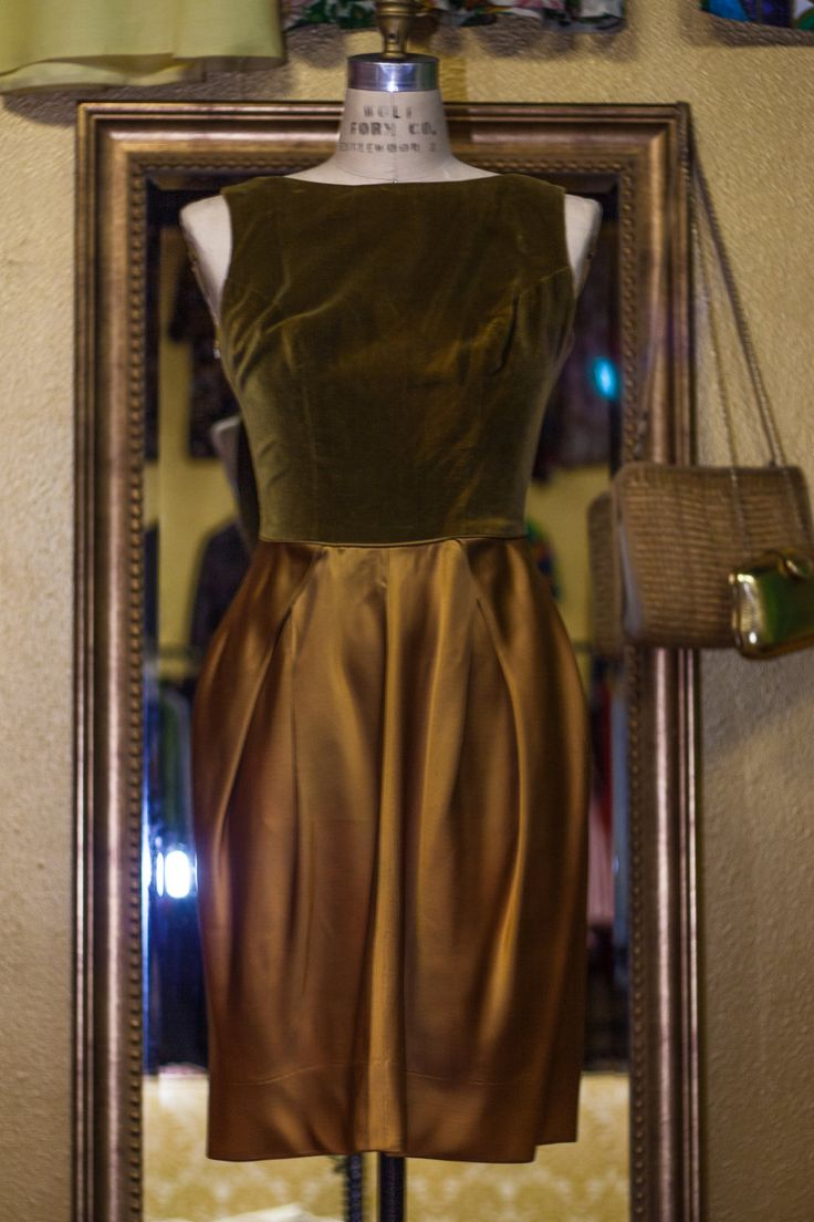 1960's Green and Copper Cocktail Dress with Tulip Skirt by SHOPISHVINTAGE on Etsy