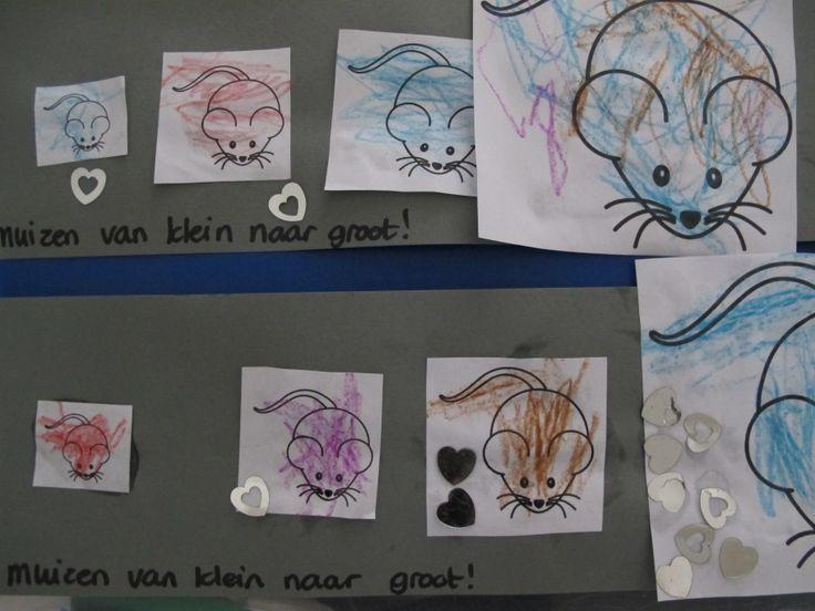 Plaatjes van muizen in de goede volgorde plakken (klein-groot).