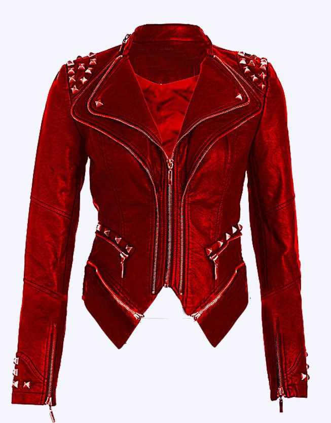 Women S Red Color Genuine Leather Silver Studded Handmade Quilted Waist Jacket Real Leather Jacket Red Jacket Leather Leather Jackets Women