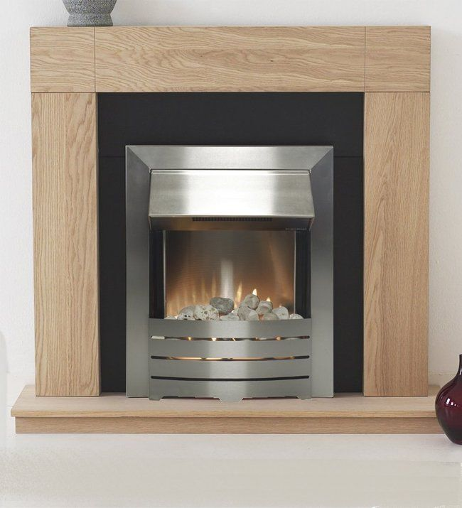 Modern Electric Fire Suites Part - 42: Adam Chilton Fireplace Suite In Oak With Helios Steel Electric Fire, 39 Inch