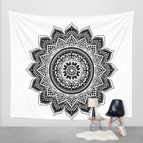 Hippie tapestry black and white dresses