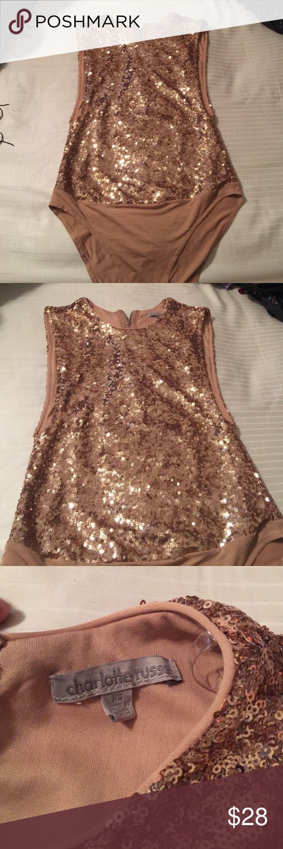 Sequin bodysuit Charlotte Rouse rose gold bodysuit XS. Worn one and it great condition. Charlotte Russe Swim One Pieces