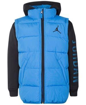 Jordan Aj Hooded Layered-Look Puffer Vest Jacket, Little Boys (4-7) - Blue 5