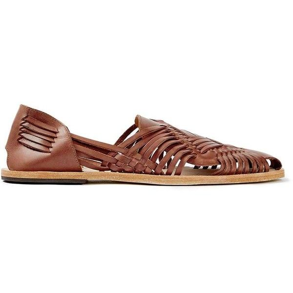 TOPMAN Hudson Tan Leather Woven Sandals (455 PLN) ❤ liked on Polyvore featuring men's fashion, men's shoes, men's sandals, brown, mens woven leather shoes, mens roman sandals, mens tan leather shoes, mens gladiator sandals and mens brown leather shoes