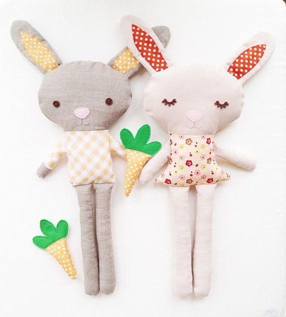 Bunny Sewing Pattern - Bunny Doll Pattern - Boy Bunny Girl Bunny With Carrot - PDF. $10.00, via Etsy.