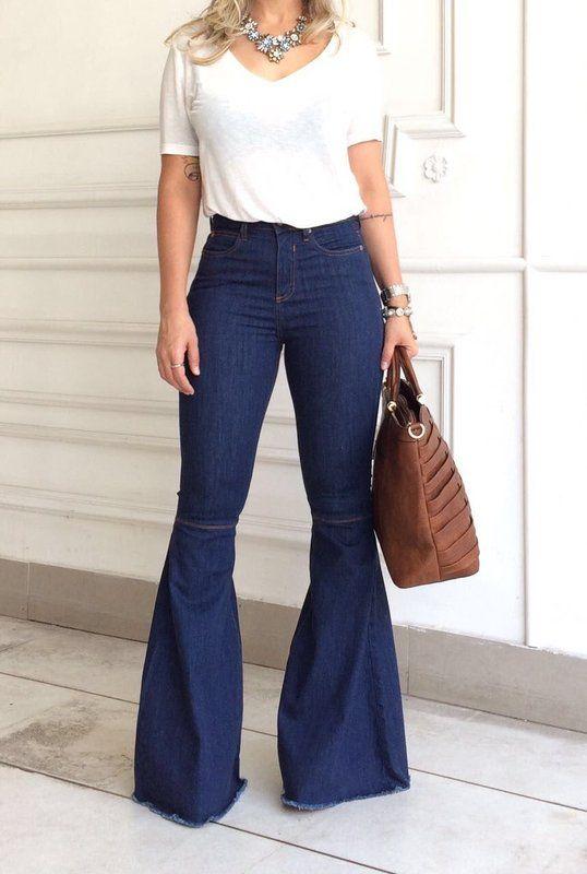 Calça Maxi Flare Jeans - Luttiê - Loja Online Multimarcas.