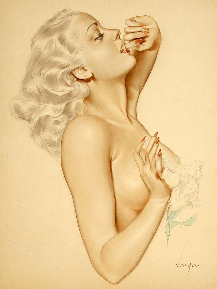 Untitled, published in PLAYBOY, Alberto Vargas, date unknown. From the time Esquire first introduced America to the Varga Girl in 1940, the name Vargas has been synonymous with pin-up and pin-up art. Alberto Vargas (1896 - 1982) was born in Peru, studied in Zurich and Geneva before leaving Europe, and arrived on Ellis Island, October 1916. May 1919, a rep. of the Ziegfeld Follies asked to show his work to Mr Ziegfeld. Vargas became the most famous and prolific pin-up artist of all time.