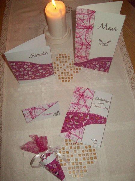 Einladungskarten - Menükarte zur Kommunion - Konfirmation - PINK! - ein Designerstück von CreativAnita bei DaWanda