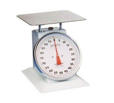 """Detecto T100 - Top Loading Dial Receiving Scale w/ Enamel Housing, 100-lb x 4-oz by Detecto. $194.40. Detecto T100 Top Loading Dial Receiving Scale w/ Enamel Housing, 100-lb x 4-oz. Scale, Receiving, Dial Type, Top Loading, counter model, 10-1/2"""" fixed dial, sloped face, 100 lb x 4 oz. capacity, enamel housing, 11-1/2"""" sq. chrome-plated platform"""