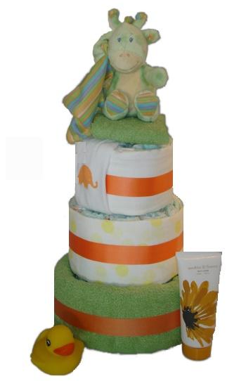 Cuddly Three Tier Nappy Cake    $100.00  30 Huggies Newborn Nappies  2 Cotton Muslin Wrap - 100 x 100  1 bath towel  1 soft musical animal toy  1 basic cotton bib  1 bath duck  1 cotton face washer  1 hand cream for mum