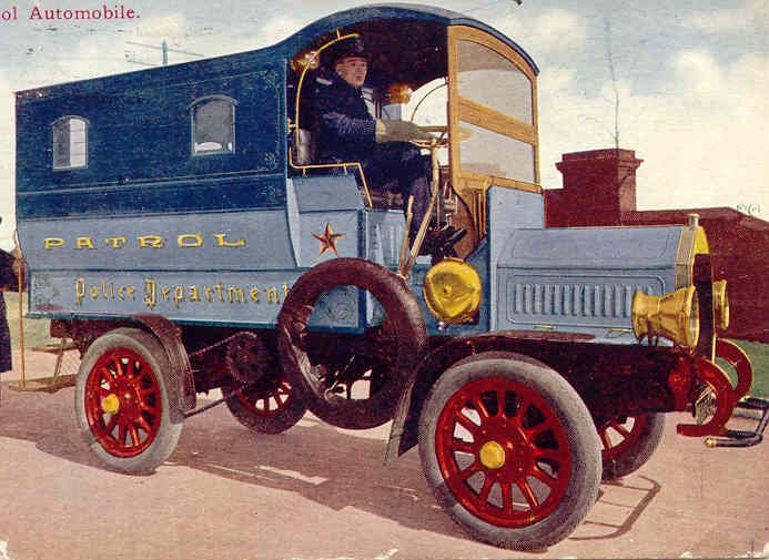 1909 - Early motorized Chicago Police Department Patrol Wagon (vintage color postcard image)