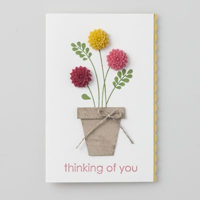 Stampin up-Thinking of You card love there new flower embellies. They are sooo darling