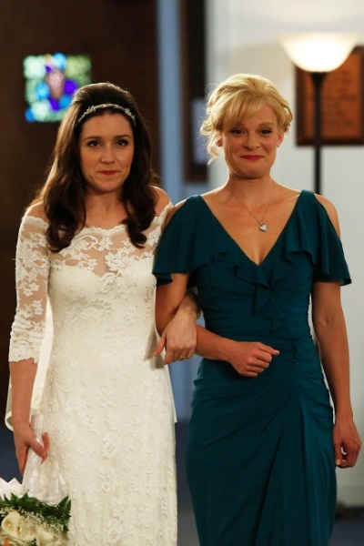 "RAISING HOPE: Virginia (Martha Plimpton, R) walks Sabrina (Shannon Woodward, L) down the aisle in the ""Modern Wedding"" episode of RAISING HOPE airing Tuesday, Jan. 29 (8:00-8:30 PM ET/PT) on FOX. ©2013 Fox Broadcasting Co. CR: Greg Gayne/FOX"