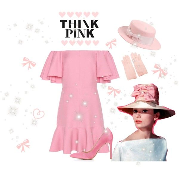 ♡ Audrey Hepburn Think Pink Look ♡ by kaylalovesowls on Polyvore featuring Valentino, Charlotte Russe and Federica Moretti