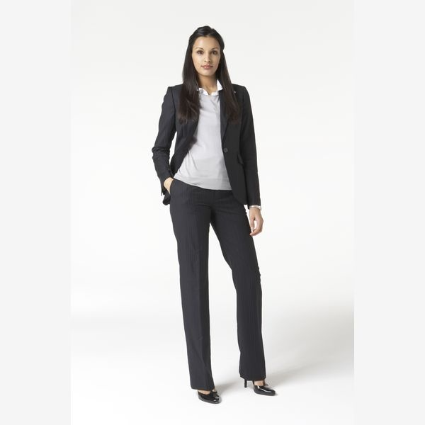 Business professional: Jacket pantsuit paired with heels and collared shirt. Flats would also be acceptable as long as pants were properly hymned.