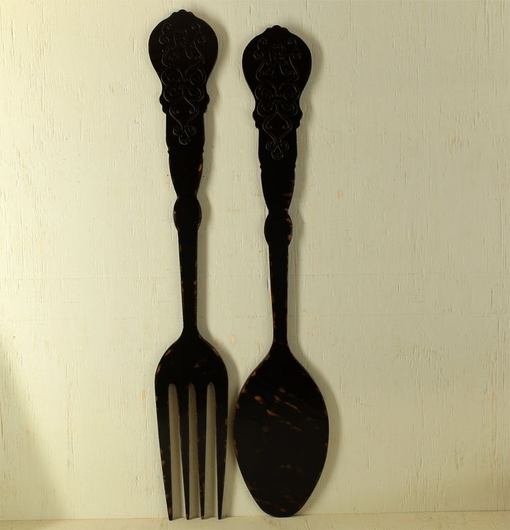 Fork And Spoon Filigree Vintage Look Black Fork Spoon Flatware Silverware  Kitchen Wall Decor Sign Restaurant