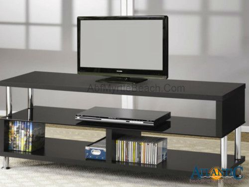 Coaster TV Stands Contemporary Media Console With Glass And Chrome Accents    Coaster Fine Furniture