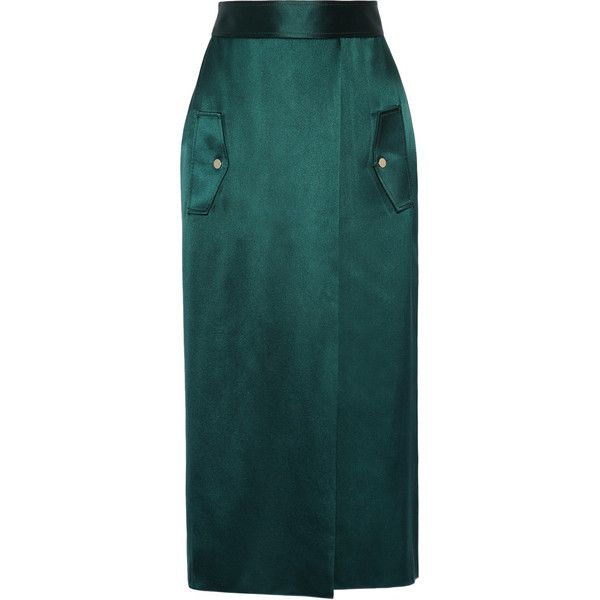 Dion Lee Wrap-effect silk-satin midi skirt ($1,025) ❤ liked on Polyvore featuring skirts, emerald, military green skirt, wrap skirts, midi wrap skirt, wraparound skirt and cargo skirt
