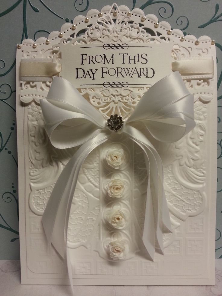 Wedding card made with Spellbinders dies Roman Romance 3D M-Bossabilities folder