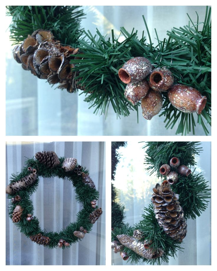 Wreath with glittered pine cones, gumnuts and banksia pods