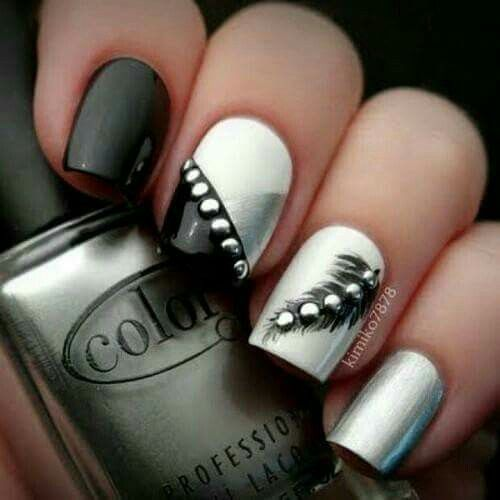Black, white and silver