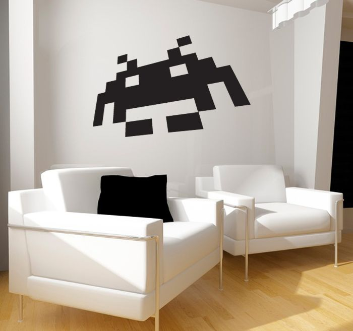 Space Invader Sticker- Decoration 80'Diy Home Decor, Ideas, Vintage Videos Games, Spaces Invaders, Comics Games Awesome, Stickers, Wall Decal, Space Invaders, Geek Videos Games
